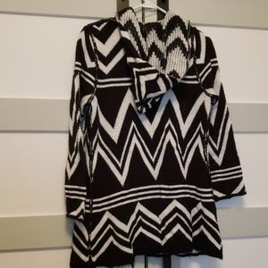 Black and White Chevron Cardigan with hood